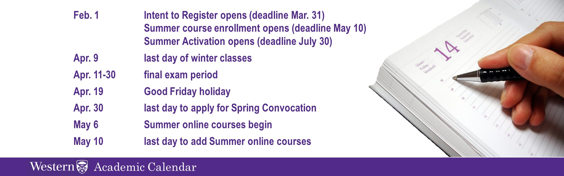 Westernu sessional dates