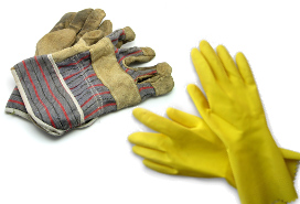 work gloves and yellow rubber dish gloves
